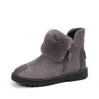 Hot sale Women natural real fox fur snow boots fashion boots for women high quality genuine cow leather winter Ankle boots sew3