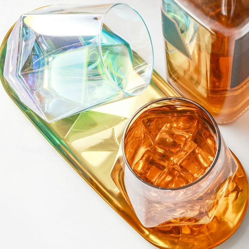 Vaso De vino De Cristal De lujo creativo geométrico hecho a mano...