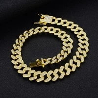 men hiphop iced out paved rhinestone cuban link chains necklaces 15mm miami punk rapper bling chokers bracelets jewelry sets