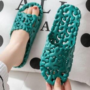 Women Slippers Casual Home Indoor Bathroom Bath Non-Slip Soft Bottom Shoes PVC