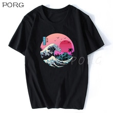 The Great Retro Wave Japan Anime T-shirt Ulzzang Harajuku Streetwear Cotton Camisetas Hombre Men Vaporwave Funny Cool T Shirt 3d