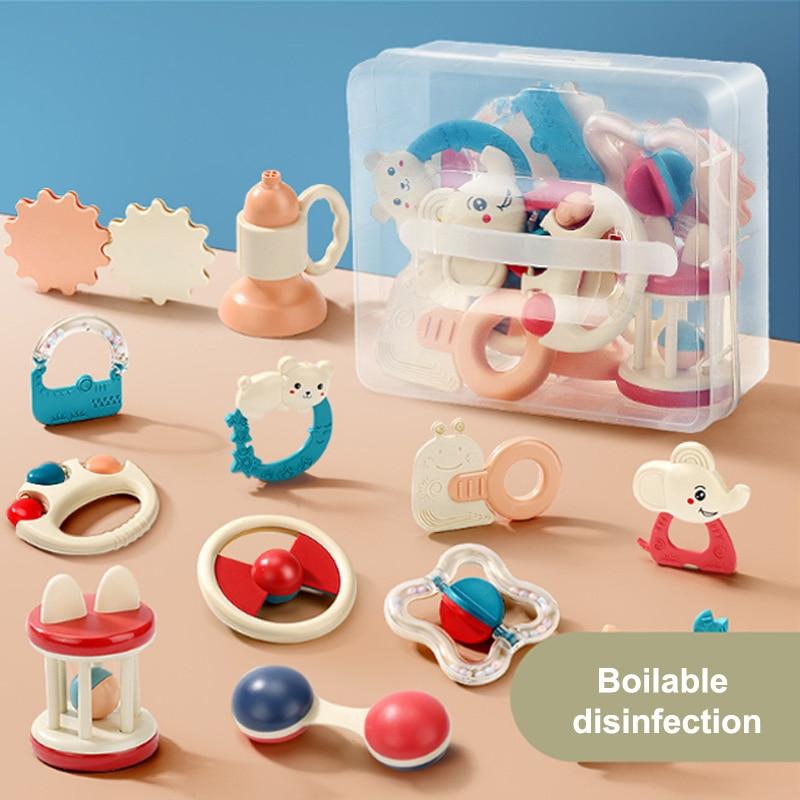 12 Uds SONAJA de juguetes para bebé Set de mordedores 0-12 meses Jingle campana juguetes para los recién nacidos sonajeros agarre Handbell con caja