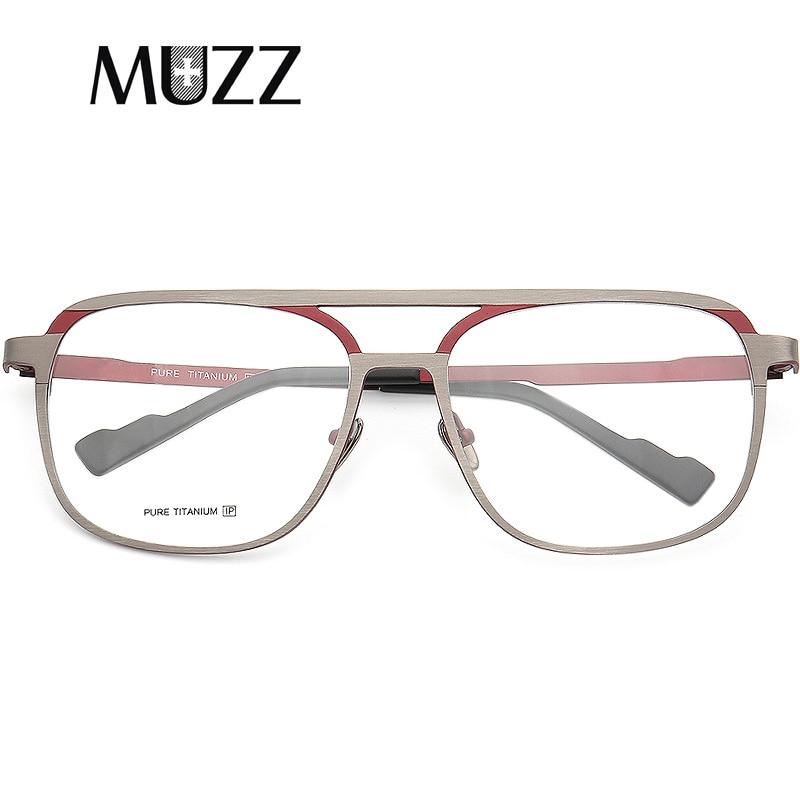 MUZZ Pure B Titanium Men Frame Retro Prescription Glasses Frame Myopia Optical Eyeglasses for Women Square Optical Lens Eyewear