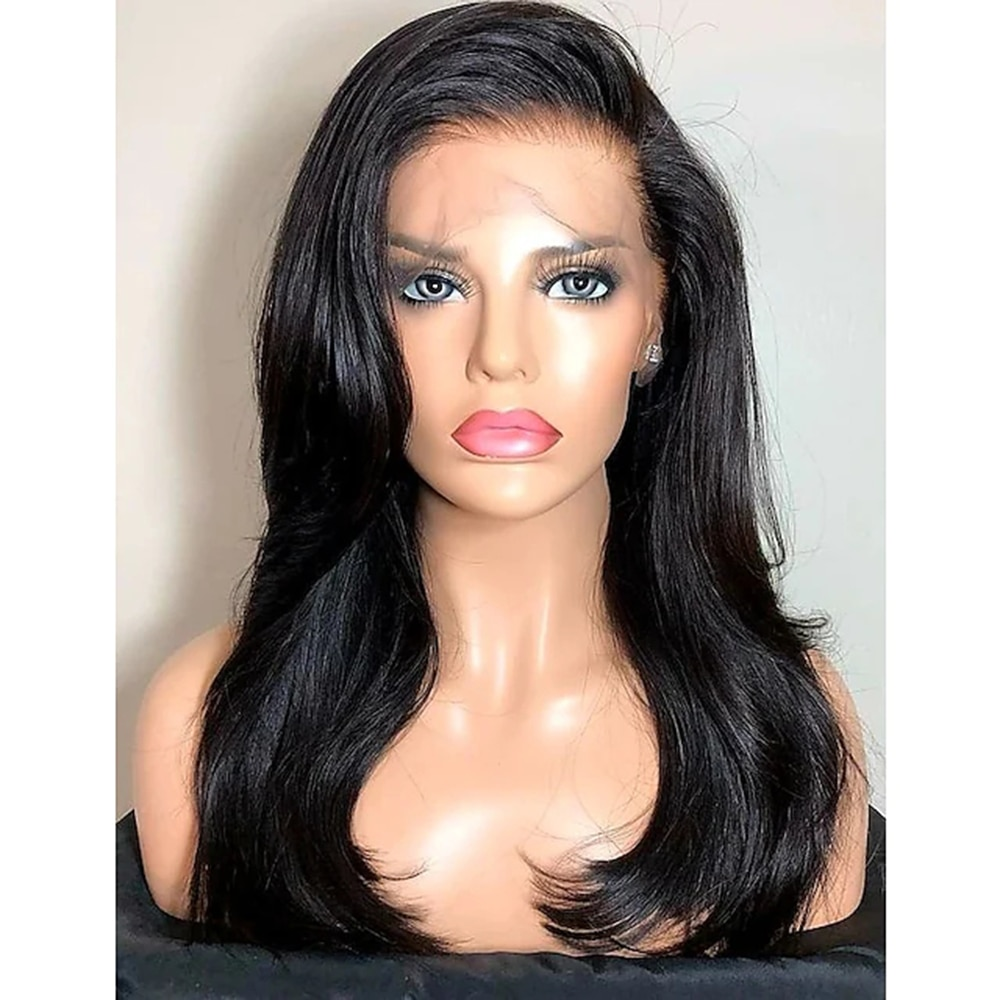 Remy Human Hair Lace Front costume Wig Side Part style Brazilian Hair Straight Wig 130% Density with Baby Hair Natural Hairline