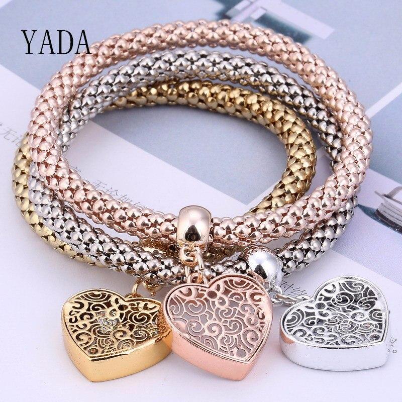 YADA Geschenke 3Pcs Liebe Herz & Baum des Lebens Armbänder & Armreifen Charme Für Frauen Freundschaft Armband Casual Schmuck armband BT200116