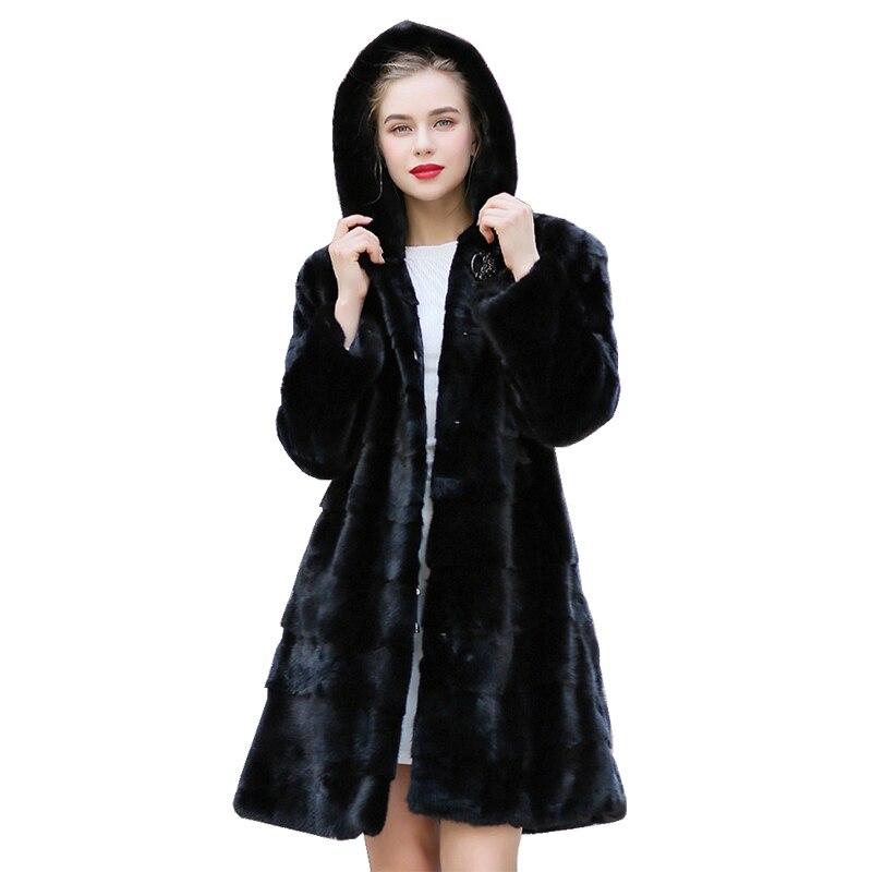 معاطف شتوية بغطاء للرأس من فرو المنك الأصلي ، بطول 90 سنتيمتر ، للنساء ، معطف خارجي ، مقاس كبير 4XL ، VF7079
