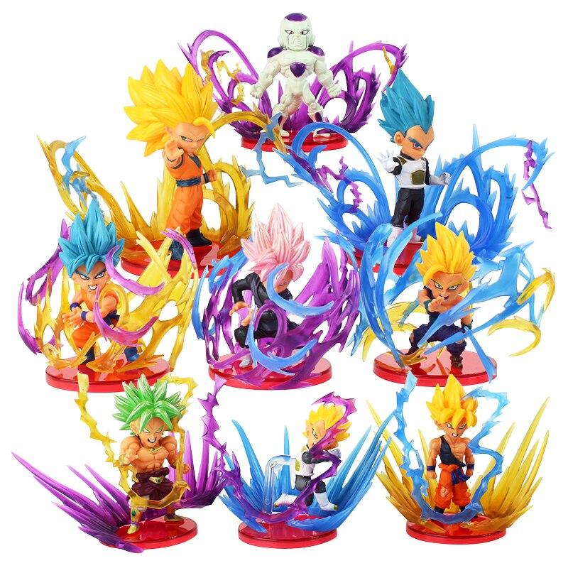 Figuras de acción de Dragon Ball Z, 9 Uds. De Goku, Gohan, Vegeta, Zamasu, Broly, Super Saiyan, freezer, juguete de acción con efecto energético