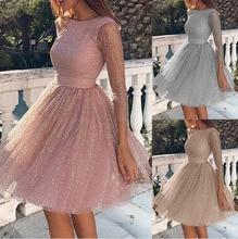 Womens Long Sleeve Dress High Waist Party Full Slim Sexy Dress Leisure Elegant Dressess