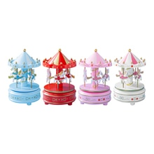Wedding Home Cake Decoration Toys Merry-Go-Round Music Box Model Handicrafts Music Toys for Kids Chi