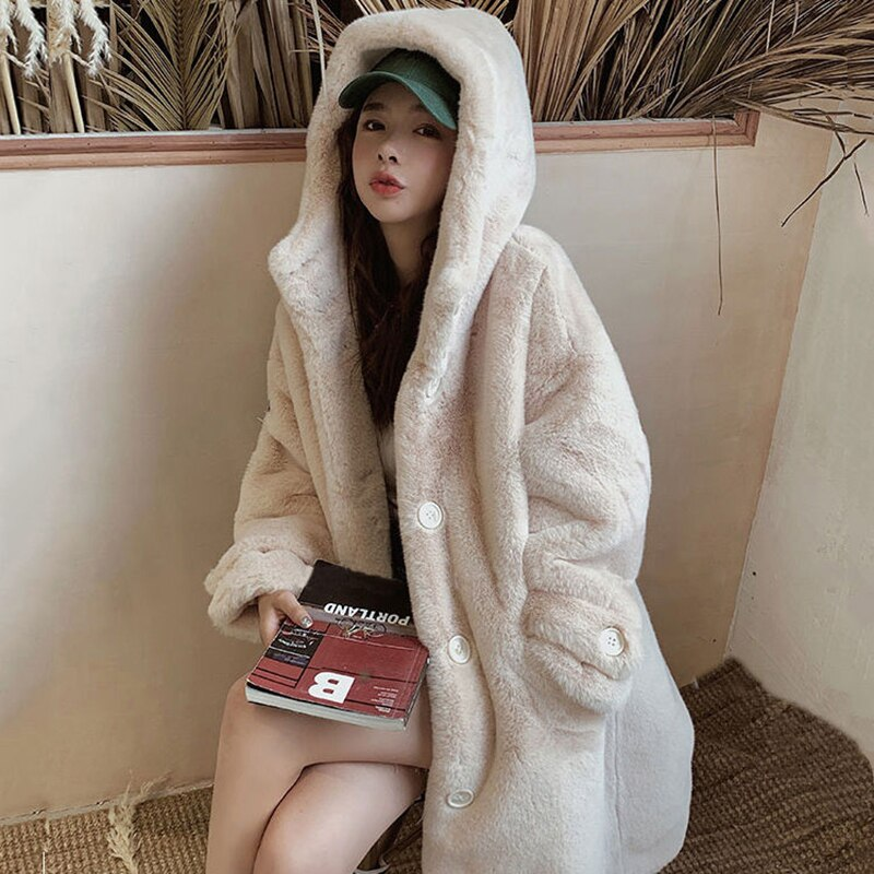 New Winter Women Faux Rabbit Fur Coat  Loose Long Fur Coat Large size Hooded OverCoat Thick Warm Female Plush Coats