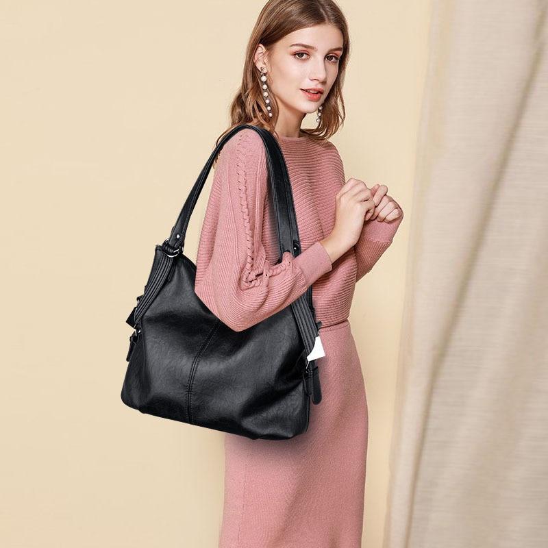 Women bag genuine leather big 2020 New Women brand black crossbody bag