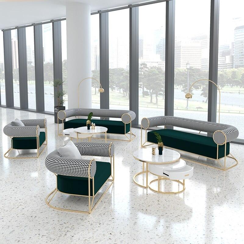 Набор диванов для офиса в скандинавском стиле, комбинированные кофейные стулья для балкона, простые деловые приемные подлокотники, диваны ...