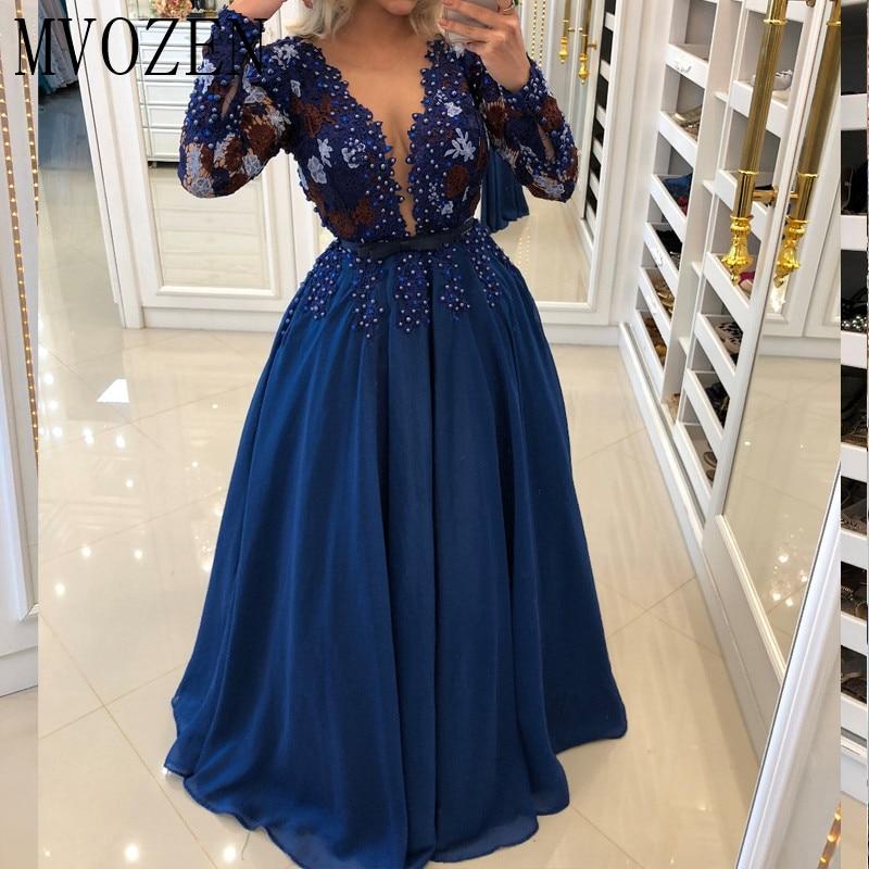 Очаровательные синие вечерние платья длинные шифоновые трапециевидные с v-образным вырезом Длинные рукава прозрачные вечерние платья vestidos