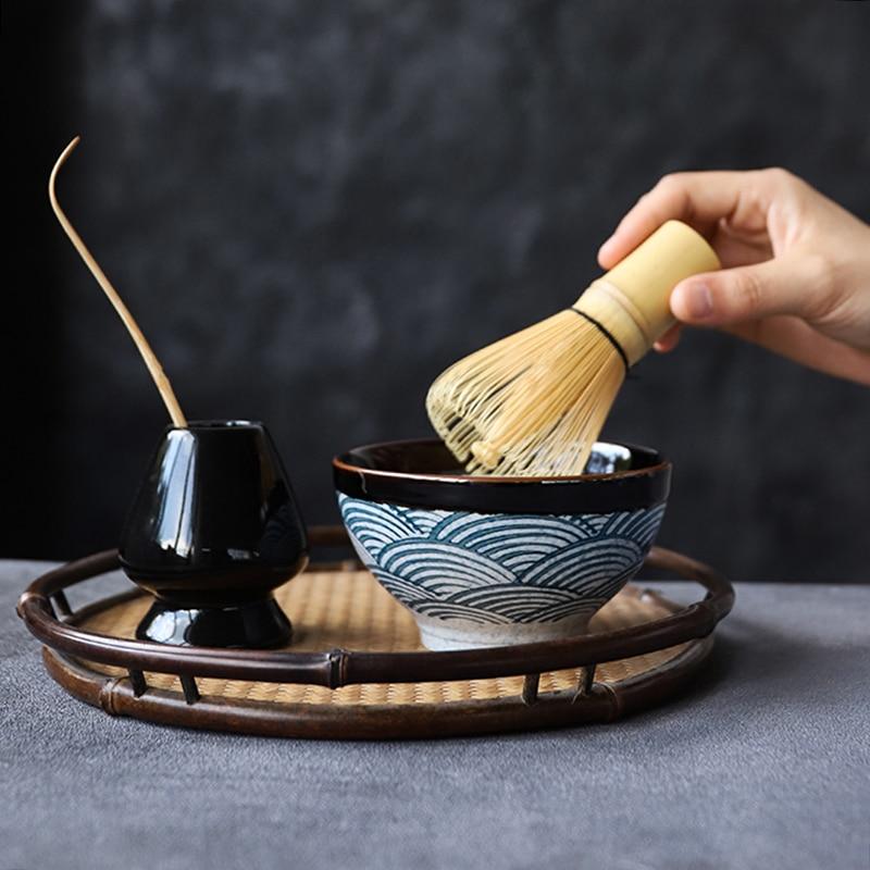لوو السيراميك ماتشا مجموعات الطبيعية الخيزران ماتشا خفقت السيراميك ماتشا السلطانية خفقت حامل الشاي الياباني مجموعات