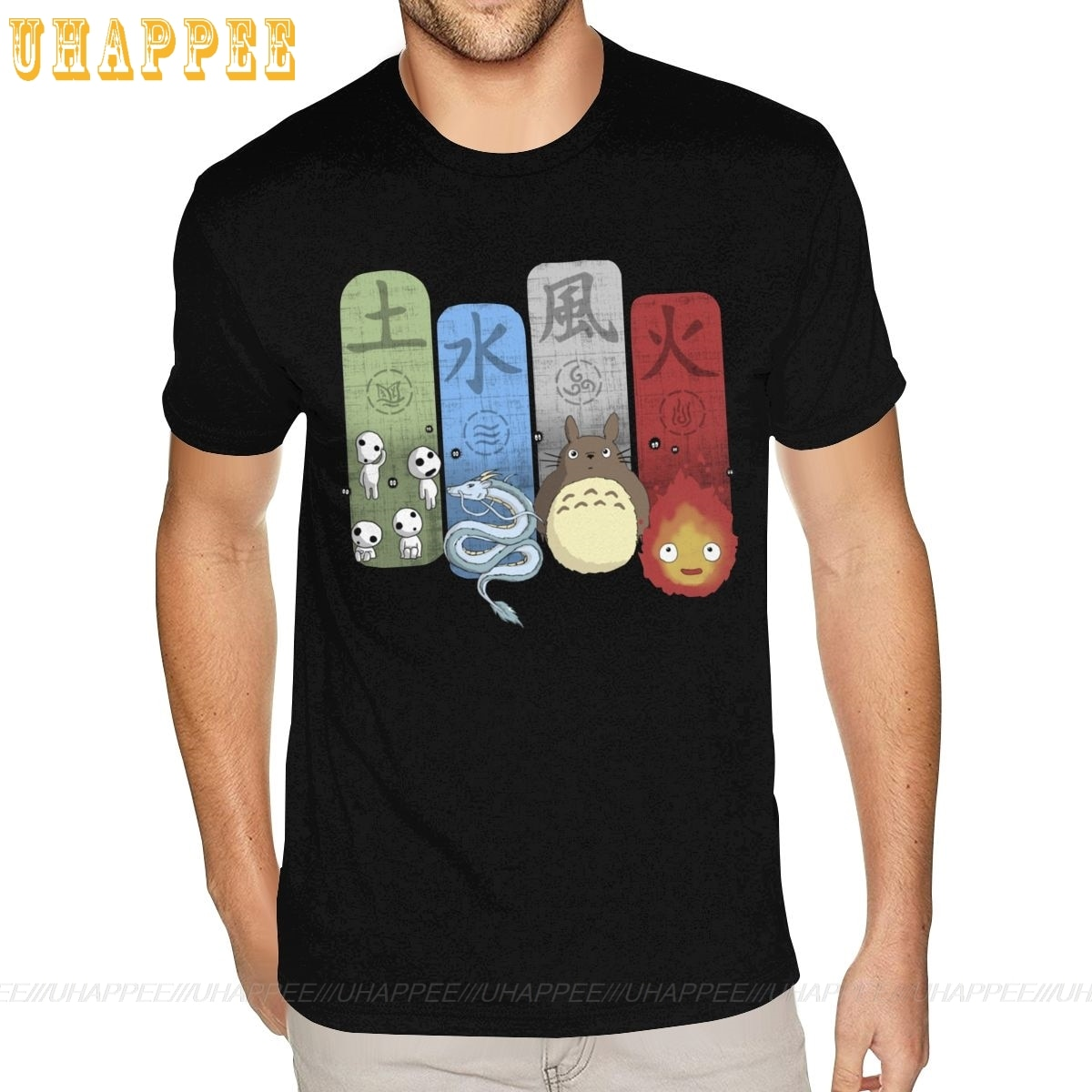 Elemental Charms princesa Mononoke Totoro Spirited Away camisetas Homme Hip Hop verano mangas cortas hombres agua Camisa estampada