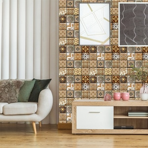 Bohemia Retro 3D Three-Dimensional Sticker Self-Adhesive Wallpaper Creative Background Wall Wall Decoration Restaurant