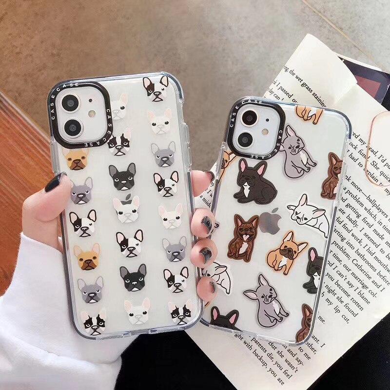 Capa de celular fofa de gato bulldog francês, desenhos animados, iphone 11pro x xs xr max 6 7 8 plus, transparente capa macia de quadro preto de tpu