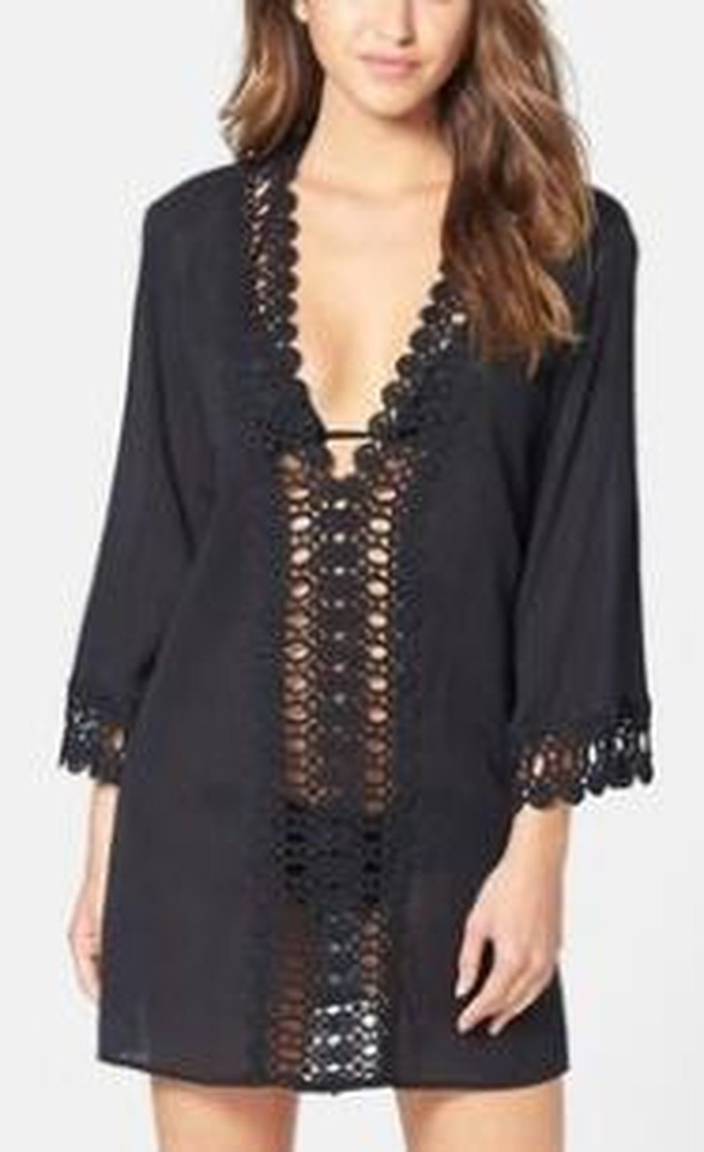 Women Floral Lace Hollow Out Sexy V-neck 3/4 Sleeve Bikini Cover Beach Bikini Cover-ups Dress Swimsuits Wrap Skirt