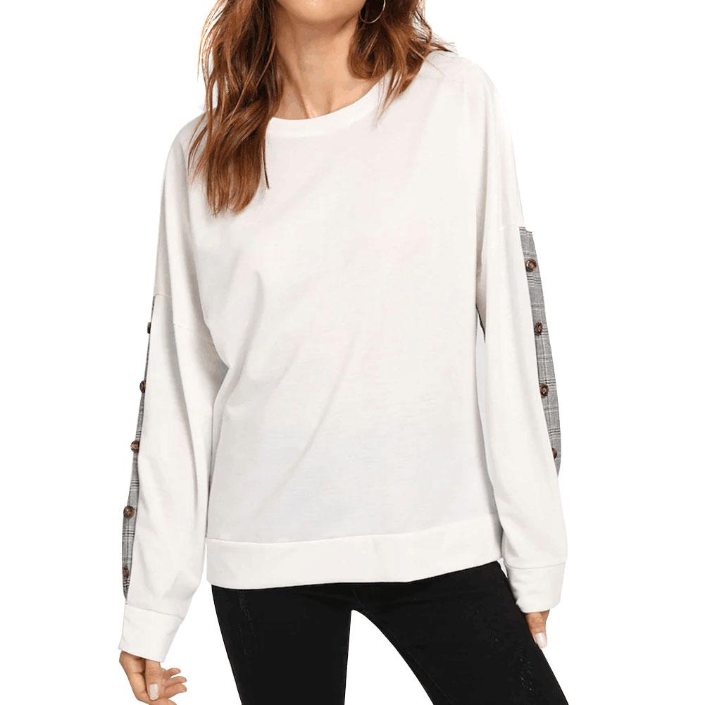Mujeres cosido suéter a cuadros cuello redondo manga larga Jersey Tops informales TY66