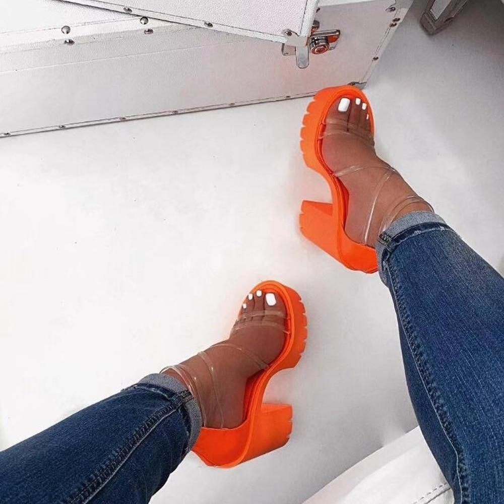 صندل نسائي بكعب عالٍ ، برتقالي نيون ، أحزمة PVC متقاطعة ، أحذية سفر خارجية ، نعل مطاطي ، شبشب مانع للانزلاق ، مجموعة جديدة 2020