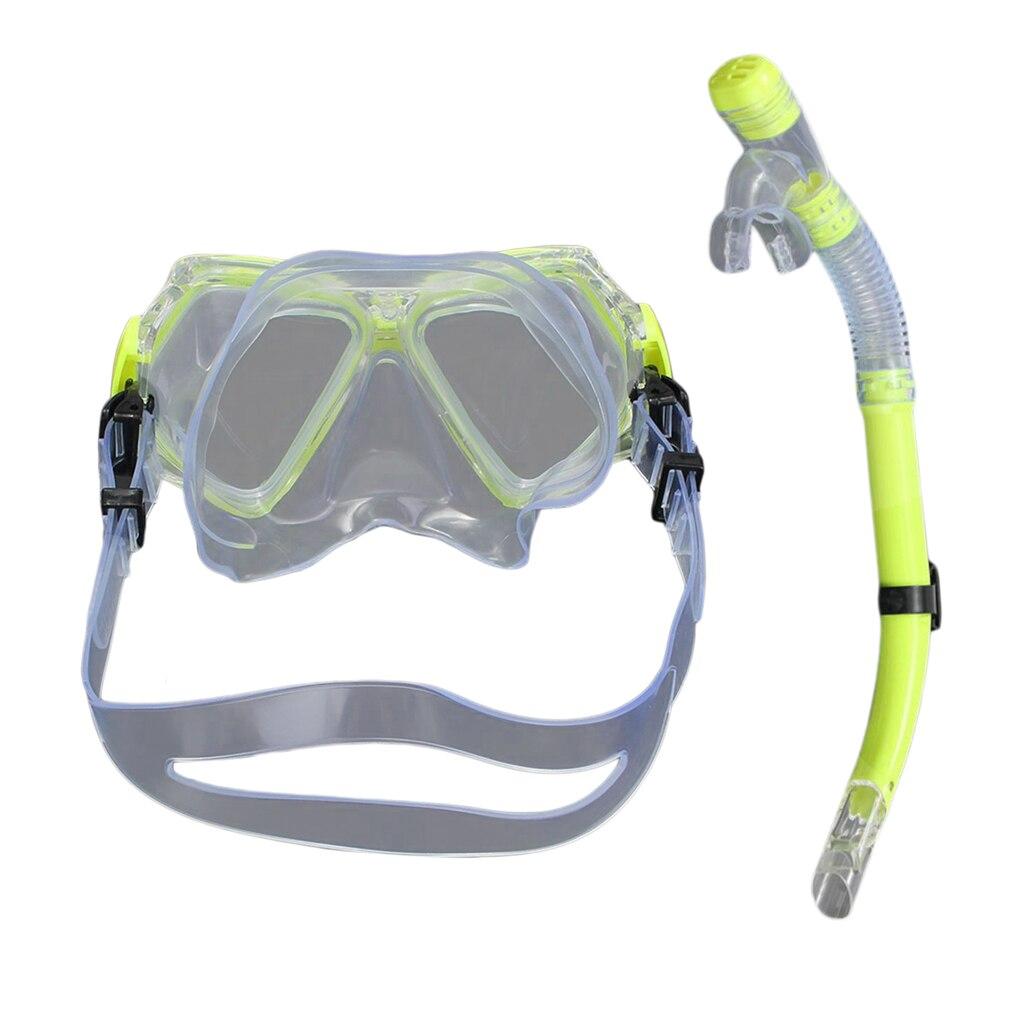 Swimming Diving  Anti-fog Goggles Underwater Scuba Half Dry Snorkel Set