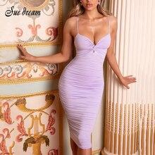 2020 été nouveau femmes Sexy col en v Spaghetti sangle drapé robe Midi violet rose moulante Club robe de soirée Vestidos