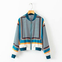 Women's Jackets Wholesale Autumn New Stand Collar Coloblocked Dot Print Boho European Retro Bohemia Jacket Woman Tops LS124