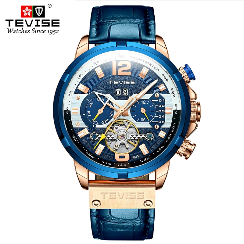 TEVISE T885F Men Mechanical Wristwatch Date Week Month Luminous Hands Flywheel Watch Men Top Brand W