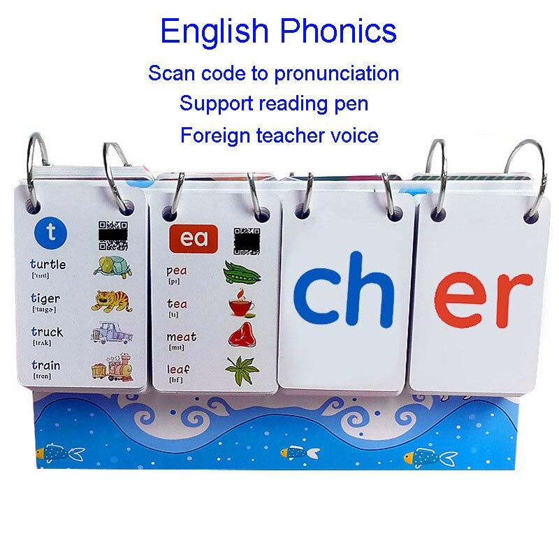 252 Uds. Tarjetas de libros de palabras con fonética inglesa FlashCards calendario niños Montessori juguetes educativos de aprendizaje juegos Vipkid