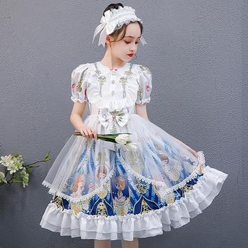 Children's Western Style Lolita Skirt Girls Lolita Princess Dress Short-sleeved Summer New Dress