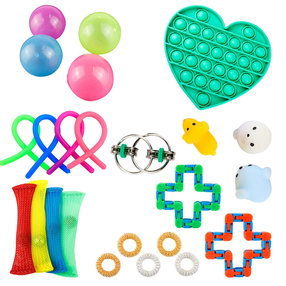 New 24 Pack Fidget Sensory Toy Set Stress Relief Toys Autism Anxiety Relief Stress Pop Bubble Fidget Sensory Toy For Kids Adults enlarge