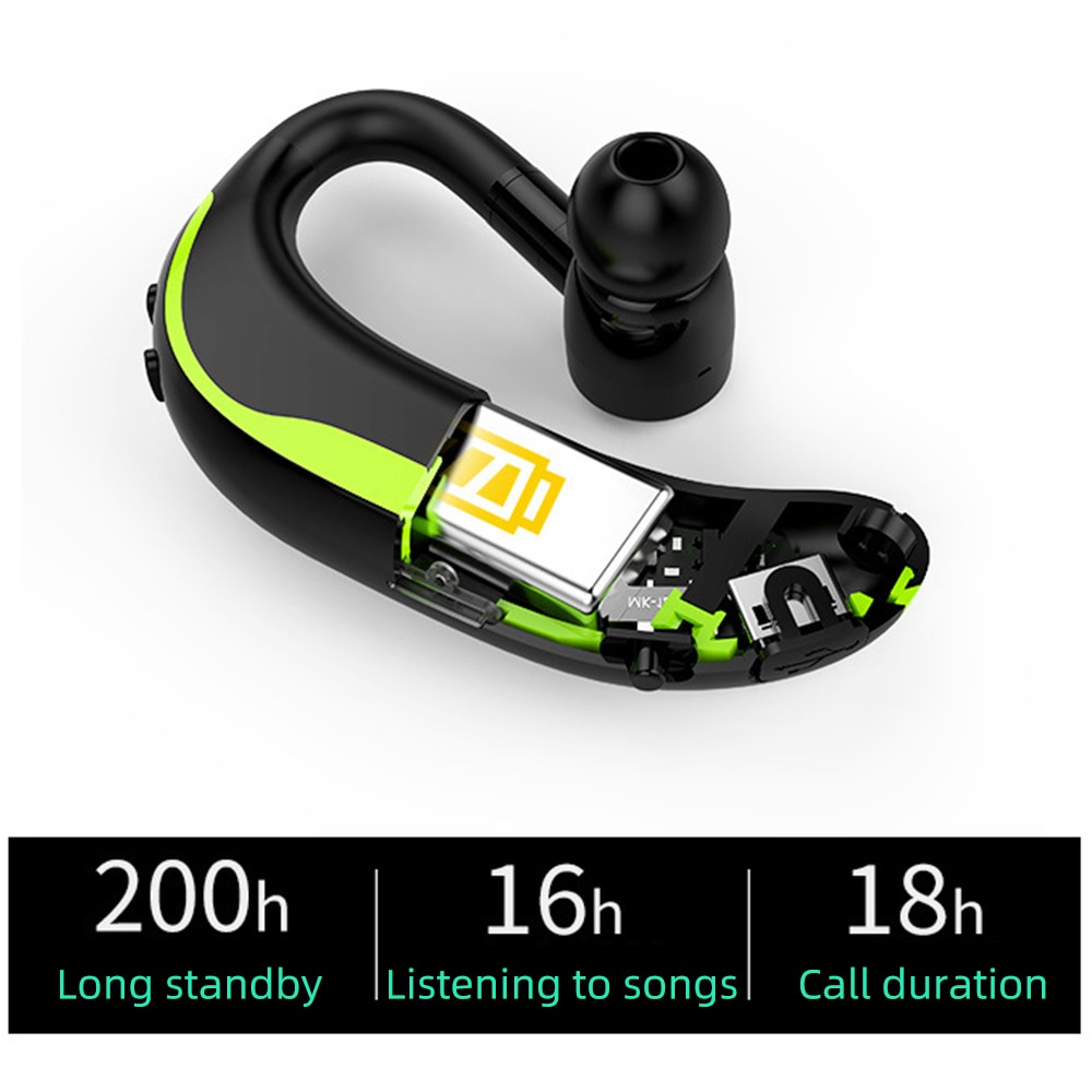 Fdbro fone de ouvido bluetooth, fone de ouvido sem fio universal, à prova dágua para dirigir, bluetooth 4.1, standby longa com microfone