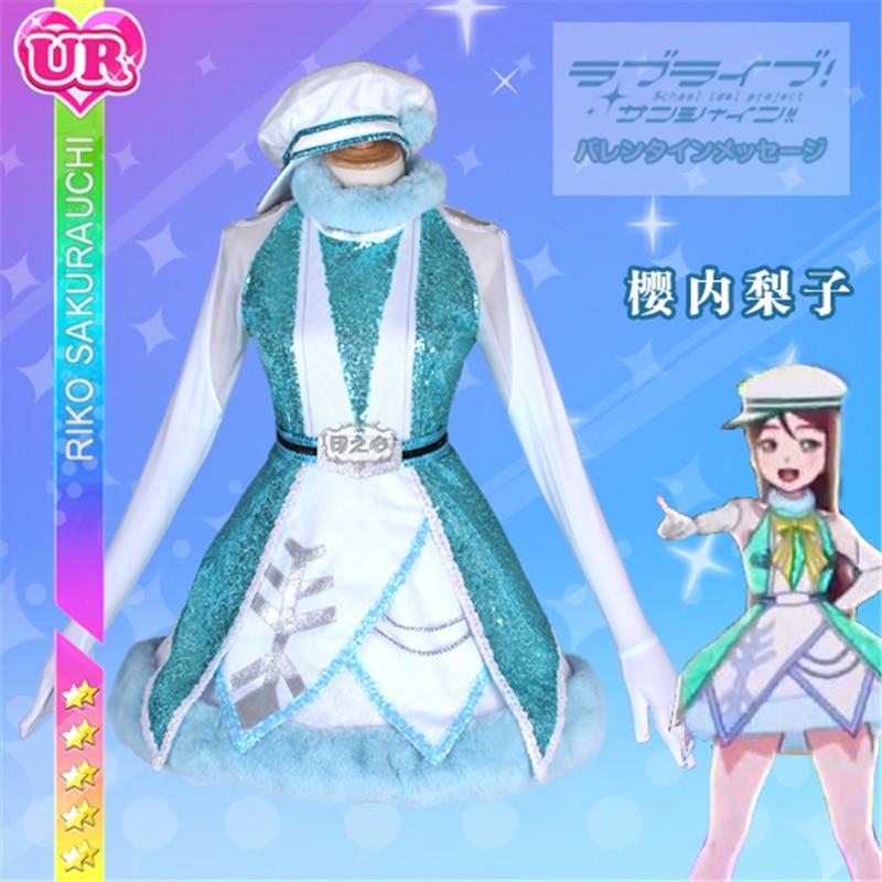 Amor en vivo Sunshine aqour sakurauchi Riko Navidad Nochebuena Cosplay disfraz Anime despertar el poder Lolita vestido H
