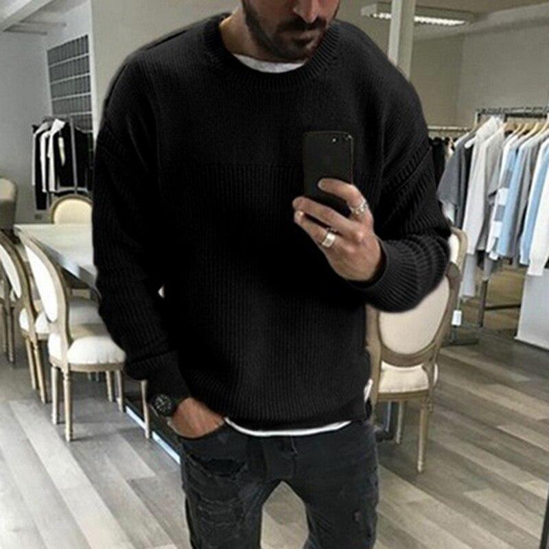 Однотонные пуловеры, свитер Homme, роскошный Теплый свитер с круглым вырезом, вязаные мужские свитера, осенняя зимняя одежда, повседневный три...