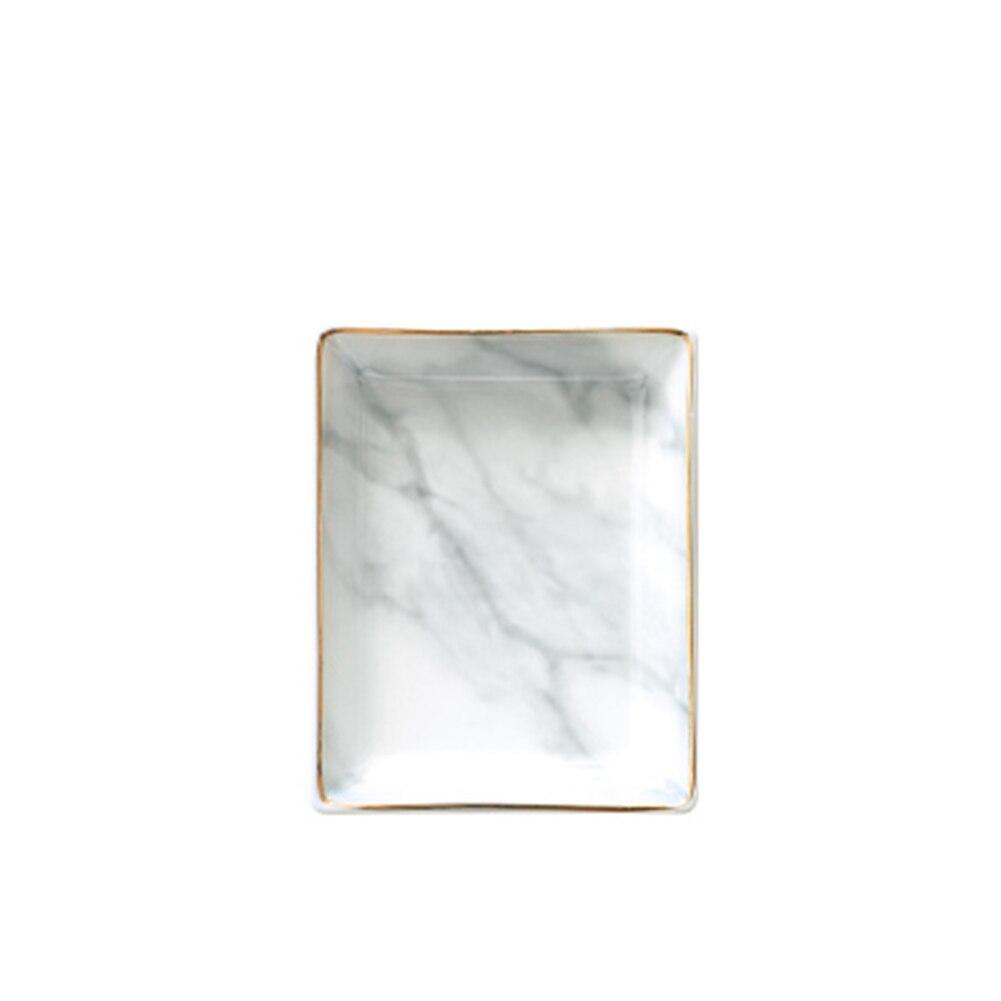 Decoración bandeja de almacenamiento joyería organizador de escritorio comida Estilo nórdico ahorro de espacio fruta plato hogar mármol patrón cerámica