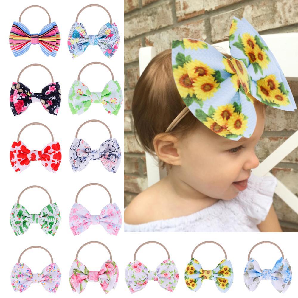 "4.5"" Textured patterned bows with Thin Nylon Headbands Baby Girls Flamingo/Sunflower/Cactus/Rainbow Print Headbands 36pcs/lot"