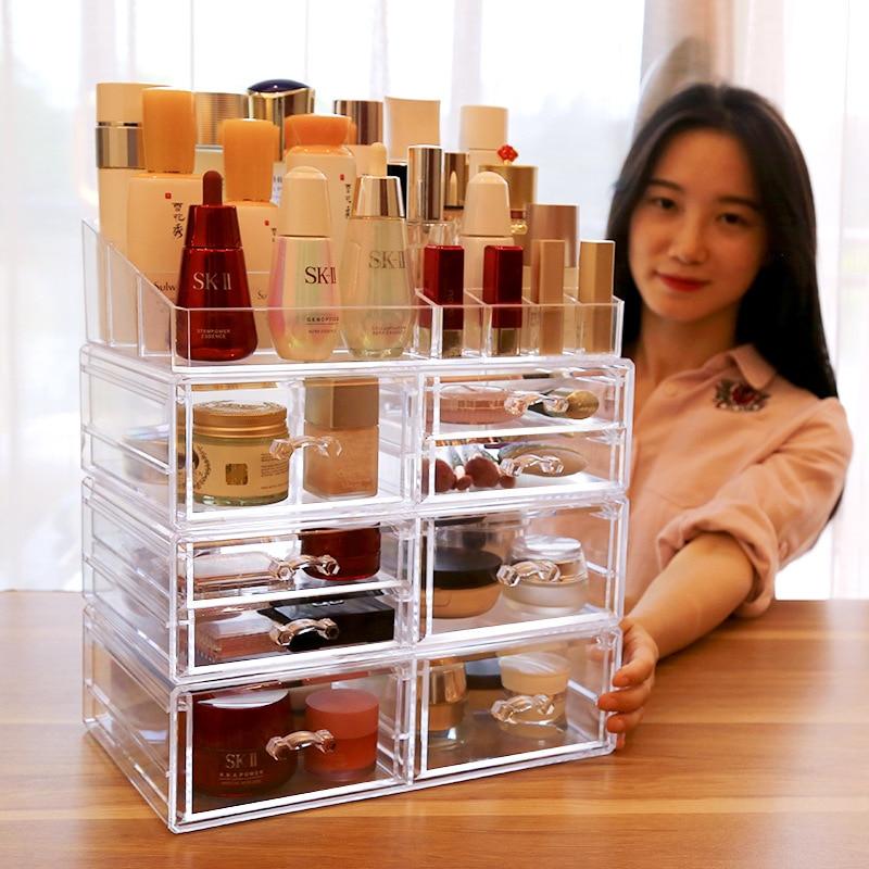 Organizador de maquillaje acrílico, caja de almacenamiento de joyería, cosméticos, caja de exhibición de joyería, caja de plástico, cajón transparente, lápiz labial de almacenamiento de polvo