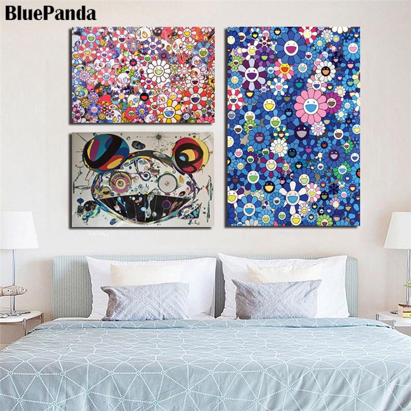 Takashies Murakamies arte japonés flores fotos pared arte impresiones lienzo pintura cabecera Fondo decoración del hogar arte Póster