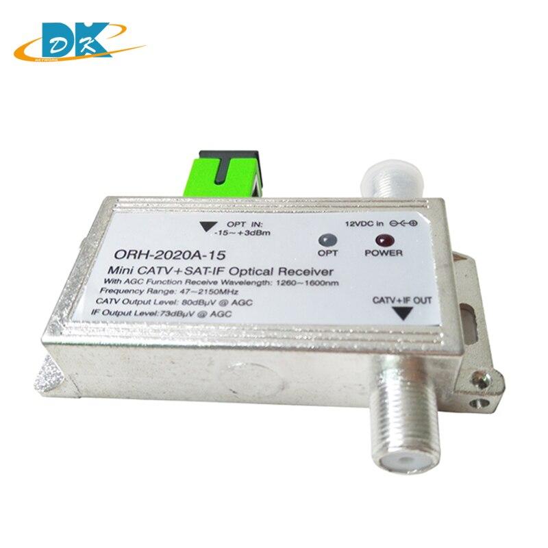 Receptor ótico agc de ftth ORH-2020 com 1260-1660nm 47-2150 mhz mini catv + sat-se receptor óptico build-in filtro com agc