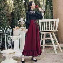 YOSIMI 2020 ensemble deux pièces à manches longues Blouse haut et jupe à carreaux et haut ensemble femmes deux pièces tenues chemise noire lanterne manches
