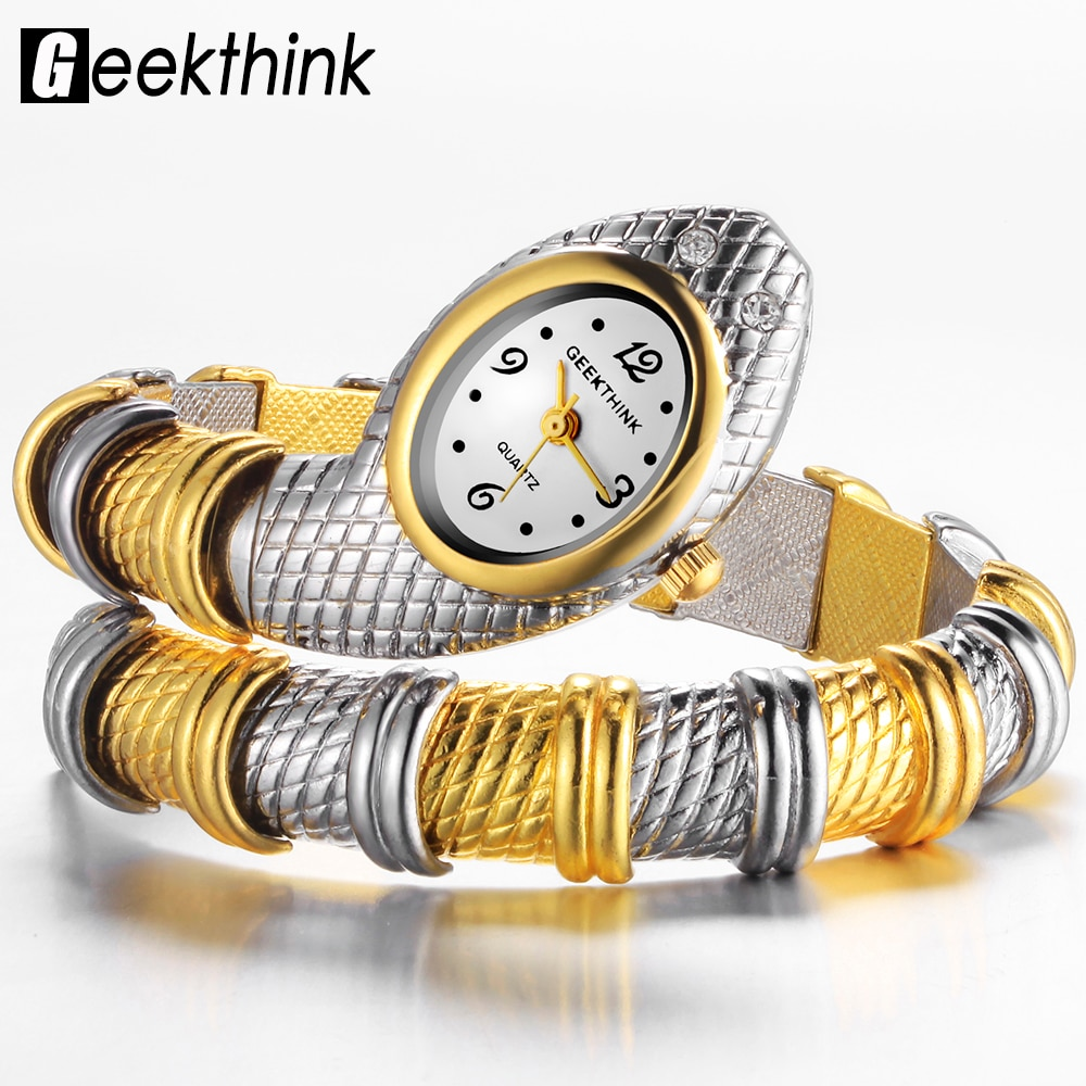 GEEKTHINK Bling Rhinestone Fashion Brand Quartz Watch Bracelet Women Ladies Snake Dress Bangle Diamond Ornament