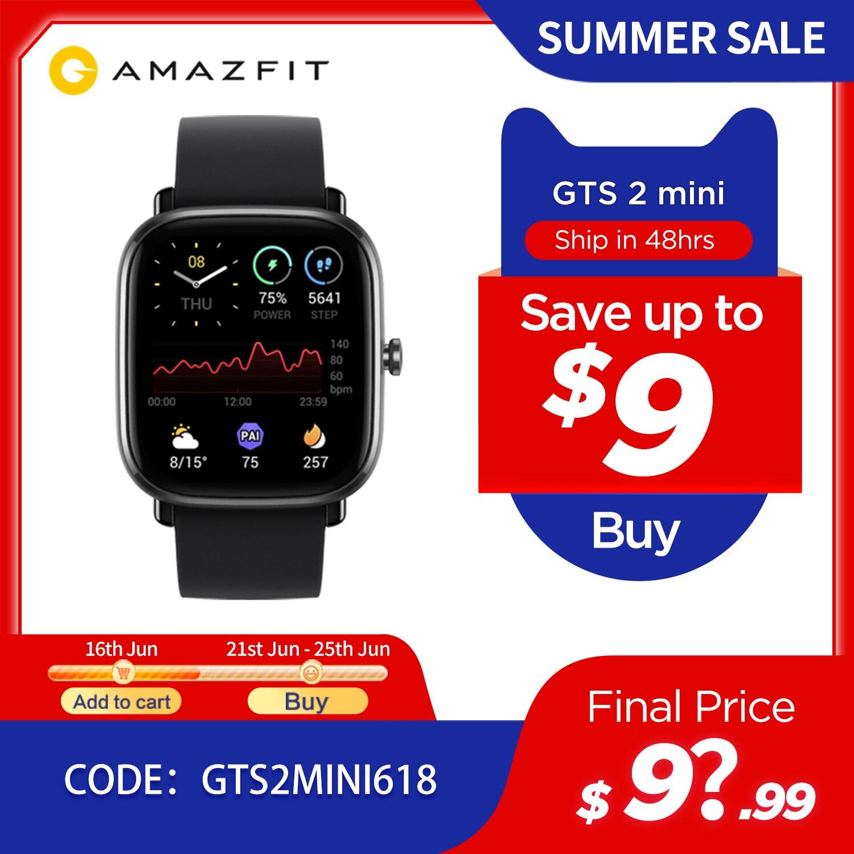 Глобальная версия Amazfit GTS 2 мини GPS Smartwatch активно-матричные осид, Дисплей 70 спортивных режимов монитор наблюдения за сном, умные часы для Android iOS-0