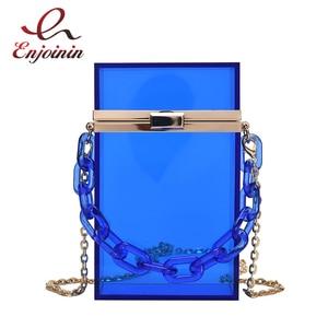 Transparent Rectangular Acrylic Box Clutch Bag Small Crossbody Bag for Women Fashion Purses and Handbags Ladies Shoulder Bag
