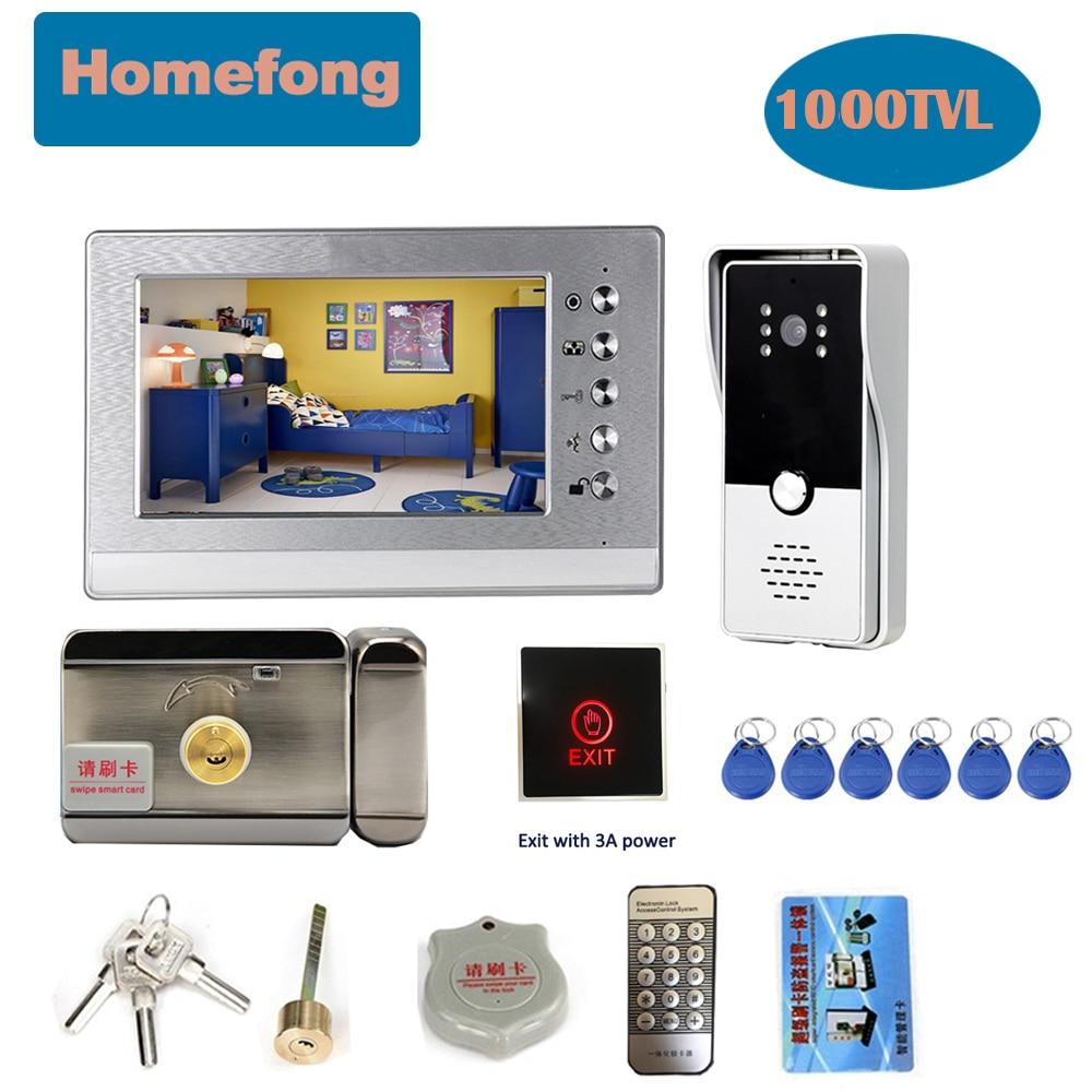 Homefong-جرس باب بالفيديو مقاس 7 بوصات مع كاميرا ، ونظام اتصال داخلي منزلي ، وفتح قفل الباب ، ومقاوم للماء