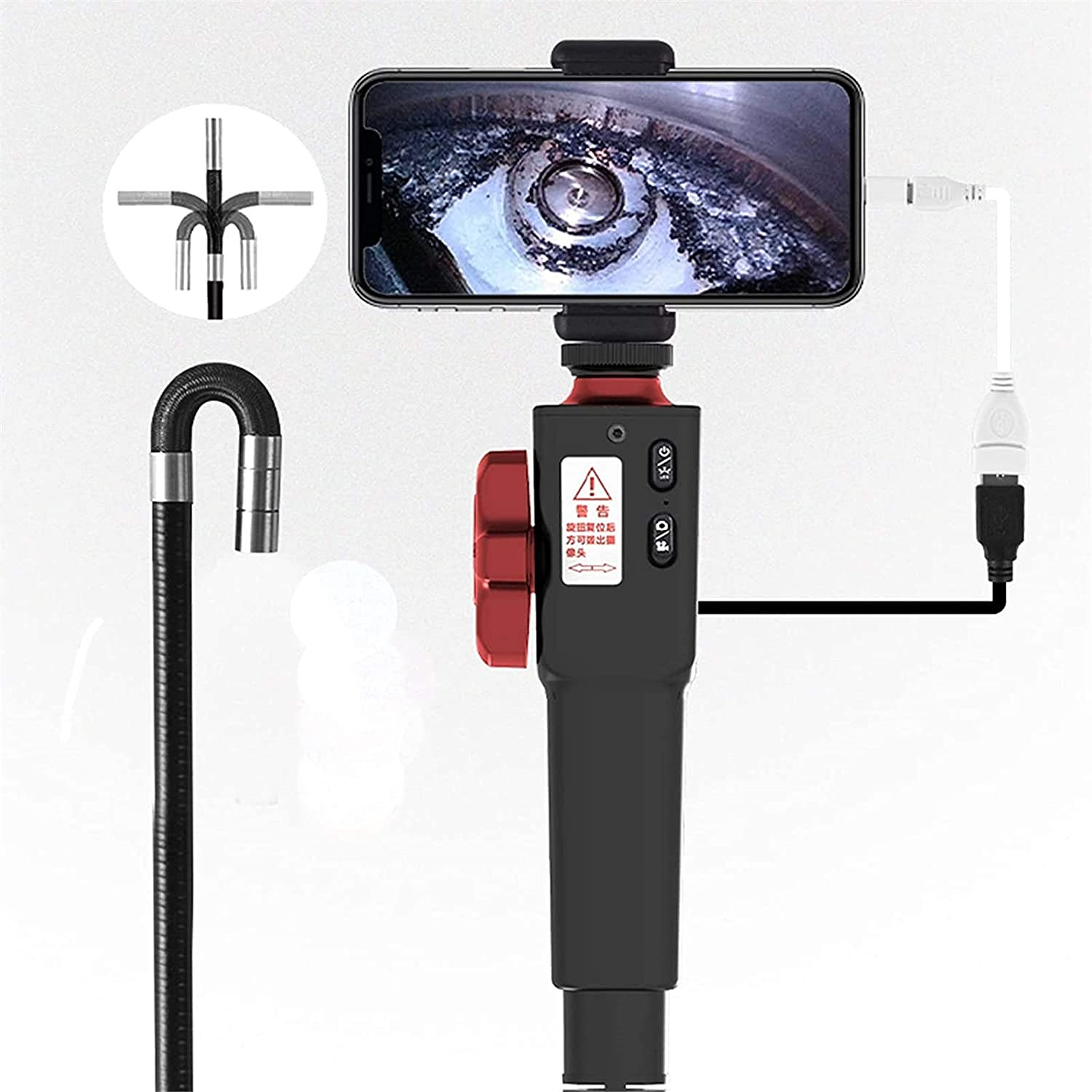 360 Degree Steering Industrial Borescope Endoscope Automobile Car Pipe Inspection Camera for OTG Android Phone WIFI iOS