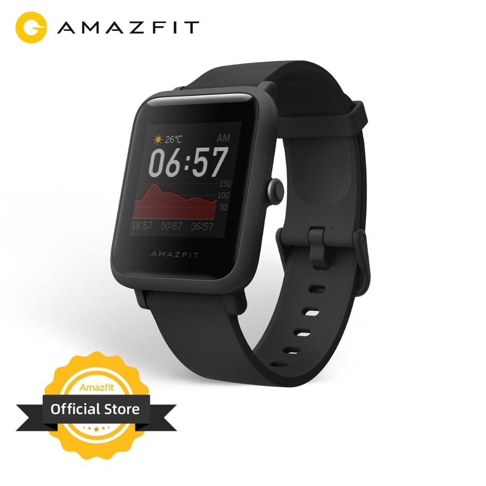 Versão global amazfit bip s lite smartwatch display colorido 5atm natação à prova dwaterproof água relógio inteligente 1.28 polegada para android ios telefone