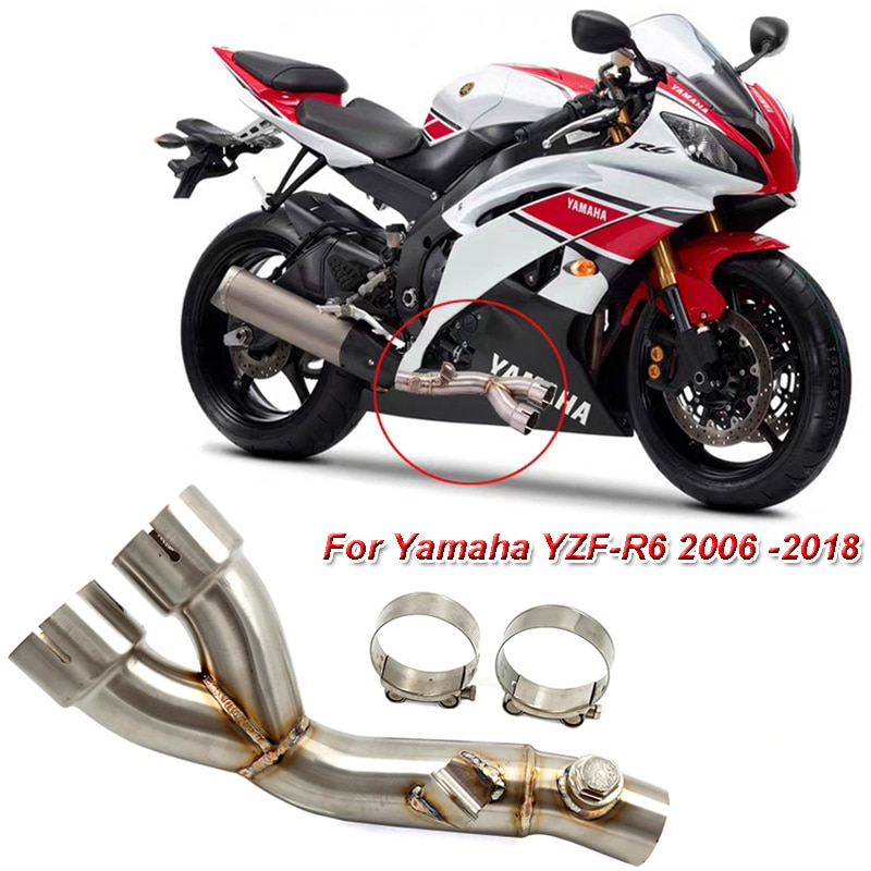 YZF R6 06-18 Motorcycle Stainless Race Exhaust Muffler Middle Pipe System Eliminator For Yamaha YZF-R6 2006-2018 R6