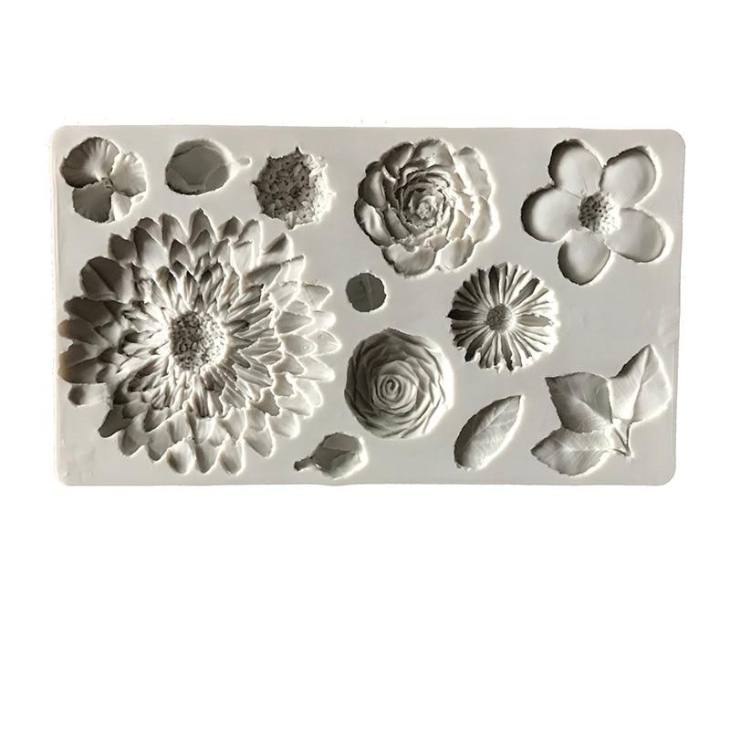 Molde de silicona para Fondant, herramientas de decoración de pasteles con borde de girasol, molde para pasta de azúcar, pasta de flores, pasta de modelado