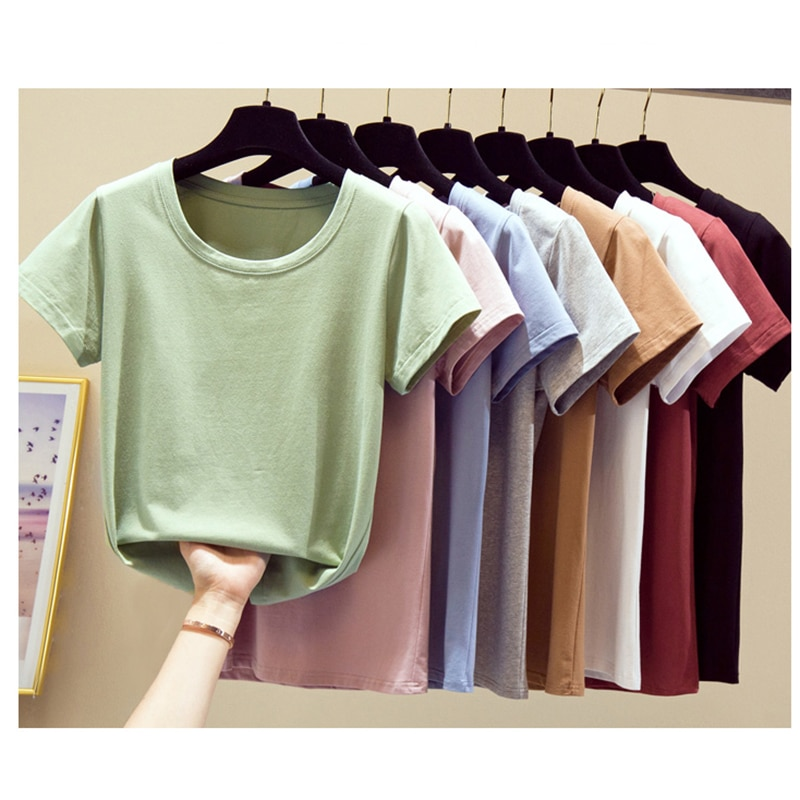 LJSXLS 2021 Pure Cotton Short Sleeve T-shirt Woman Solid Color Casual O-Neck Tops T Shirt Womens Summer Plus Size Women Clothing