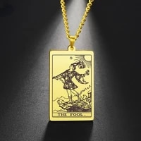 stainless steel gold army brand laser tarot brand necklace black steel color pendant fashion hip hop rock couple necklace ankh